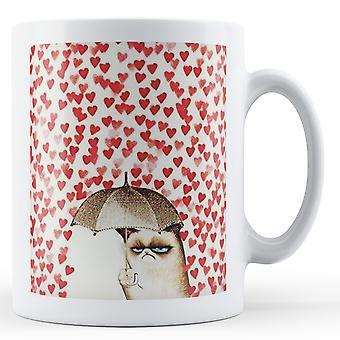 Chuva de coração de amor gato rabugento impresso caneca dia dos namorados