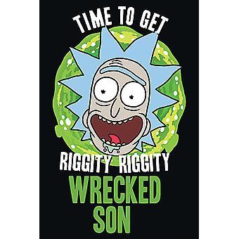 Rick y Morty cartel destrozado tiempo hijo Riggity Riggity hijo destrozado.