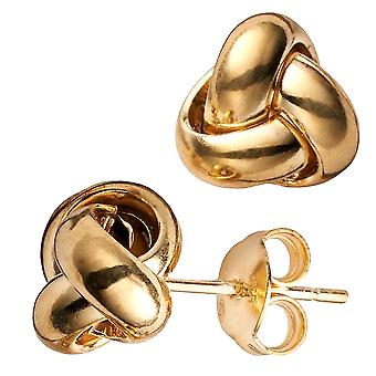 14 k Gelb Gold Single Row Love Knot Ohrstecker, 9mm