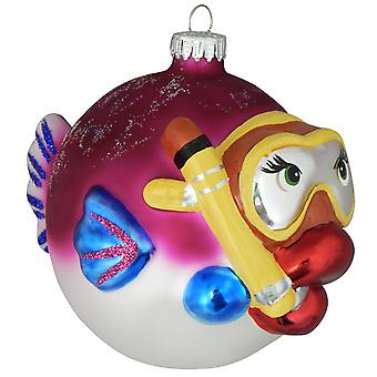 Christmas By Krebs Pink Snorkeling Fish Holiday Ornament Glass