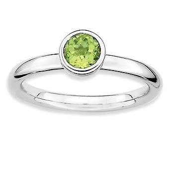 925 Sterling Silver Bezel Polished Rhodium plaqué Stackable Expressions Low 5mm Round Peridot Ring Jewelry Gifts for Wo