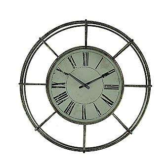 Distressed White Metal Open Frame Classic Wall Clock