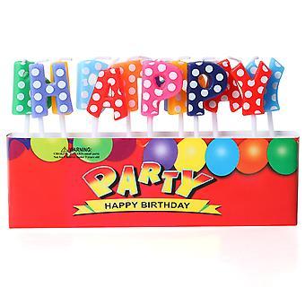 """Carta de multicoloridas Polkadot indivíduo """"feliz aniversário""""bolo as velas da cera TRIXES"""