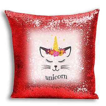 i-Tronixs - Unicorn Printed Design Red Sequin Cushion / Pillow Cover for Home Decor - 2