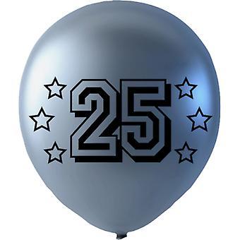 Balloons Silver metallic m. text 25 - 6-pack