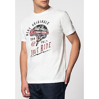 Merc metselaar, helm grafische print T-shirt met korte mouwen en ronde hals kraag