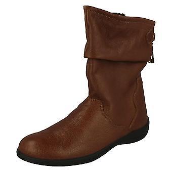 Dames Padders breed passend zwart lederen kalf Boot Regan grootte 4E UK