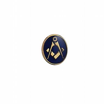 Hard Gold Plated 12x10mm oval cold cure enamel Masonic Tie Tack