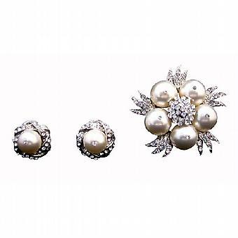 Original Swarovski Ivory Perlen Brosche & Matching Earrings w / Sekt Diamante KubikZircon Rund Brosche / Ohrringe Hochzeit Schmuck
