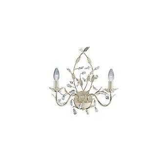 Almandite krem og gull Wall Light med krystaller - søkelys 2492-2CR