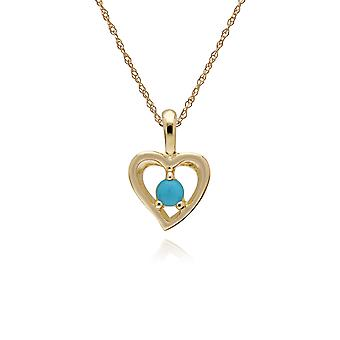Classic Single Stone Round Turquoise Open Love Heart Pendant Necklace in 9ct Yellow Gold 135P1902019