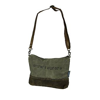 Холст и кожа винтажном стиле рустик морских печатать малые Crossbody мешок