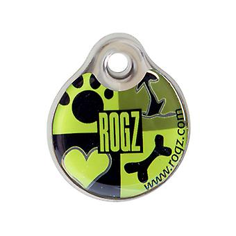 Rogz ID-Tagz Bone Paw Design Dog Collar Tag, Jus de lime instantané