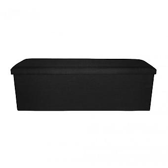 Meubles Rebecca Pouf Stool Black Fabric Openable Glove Holders 38x110x38