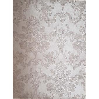 Vintage Retro Damask Shimmer Wallpaper Shiny Taupe Paste The Wall Erismann