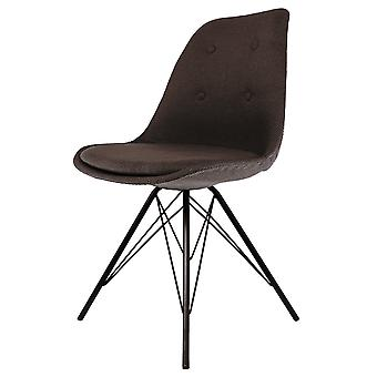 Fusion Living Eiffel Inspired Brown Fabric Dining Chair With Black Metal Legs