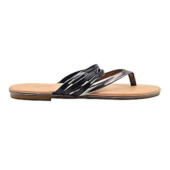 Via Rosa Ladies Fashion Sandals Strappy Metallic Slip On Thong Flats With Metallic Midsole