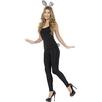 Adult Rabbit Kit Grey z pałąkiem i ogonem, Kostiumy fantazyjne dla zwierząt imprezowych