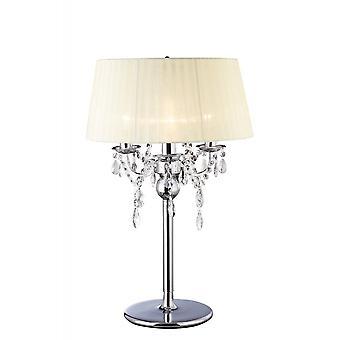 Diyas IL30062 Olivia Table Lamp With Ivory Cream Shade 3 Light Polished Chrome/Crystal