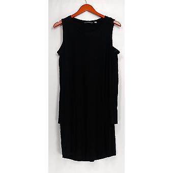 AnyBody Dress Loungewear Brushed Hacci Cold Shoulder Dress Black A297424