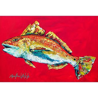 Carolines Treasures MW1103PLMT fisk-rød fisk Woo hoo stoff underlag