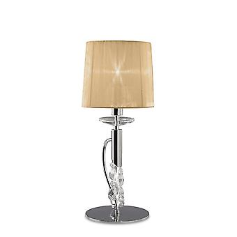 Mantra M3868 Tiffany Table Lamp 1+1 Light E14+G9, Polished Chrome With Soft Bronze Shade & Clear Crystal