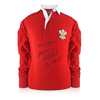 Wales rugby shirt signert av Gareth Edwards, JPR Williams, Phil Bennett og Barry John