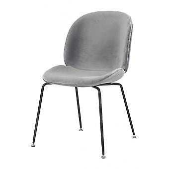 Fusion Living ylellinen harmaa Velvet-ruoka tuoli, jossa mustat metalli jalat