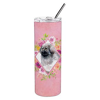 Moscow Watchdog Pink Flowers Double Walled Stainless Steel 20 oz Skinny Tumbler