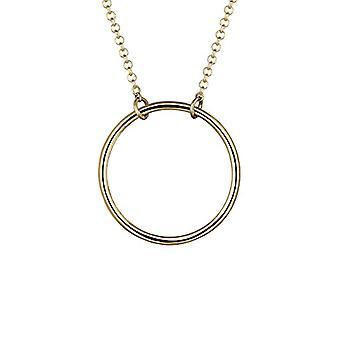 Elli - Damen Halskette mit einem KreisAnhänger - Silber 925 vergoldet Silber - Basic - 45 cm - 0108761815_45