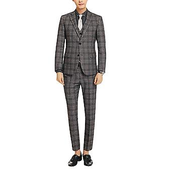 Allthemen Men's Slim Plaid 3-Piece Tuxedos Wedding Business Suits Blazer&Vest&Pants