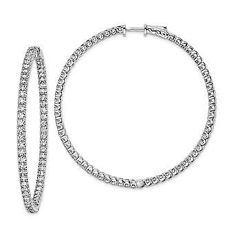 925 sterlinghopea kiillotettu saranoitu vanne turvallisuus lukko rhodium päällystetty CZ Cubic Zirkonia Simuloitu Diamond Pyöreä Vanne Earr