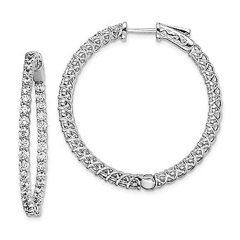 925 Sterling Silver Prong set Safety clasp Rhodium plated Rhodium Plated With CZ Cubic Zirconia Simulated Diamond Hinged