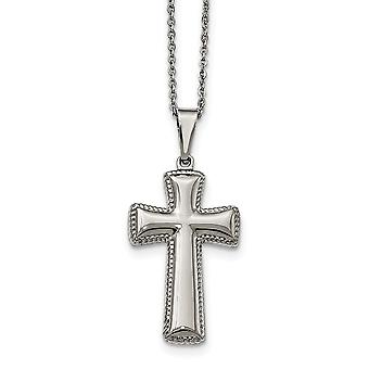 Stainless Steel Polished Medium Pillow Religious Faith Cross Necklace 18 Inch Jewelry Gifts for Women