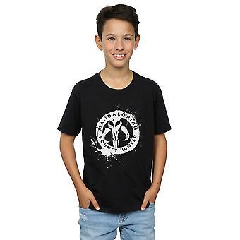 Star Wars Boys The Mandalorian Bounty Hunter Splatter Skull T-Shirt