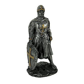 Silver Metal Look Medieval Soldier Gothic Crusader Statue