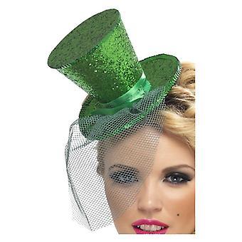 Zielona damska Mini Top Hat na Akcesoria Fancy Dress pałąk