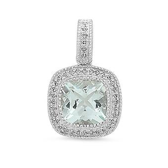Dazzlingrock Collection 14K 7 MM Aquamarine & White Diamond Ladies Halo Style Pendant (Silver Chain Included), White Gold