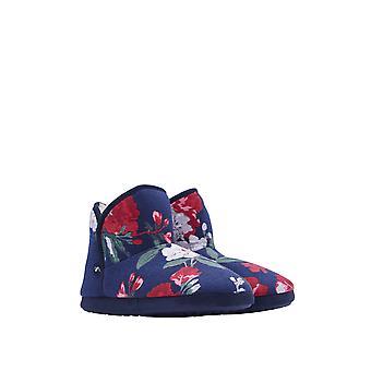 Joules cabine Womens bootie slipper met harde zool-Navy Floral