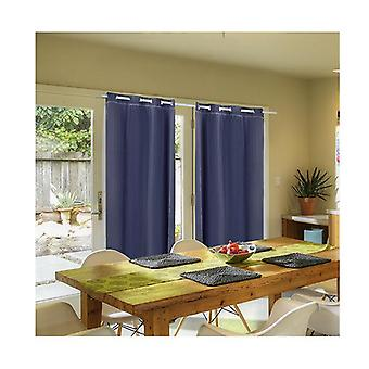 2Pcs 3Layers 140X244Cm Blockout Curtains Soft Gauze Navy Blue Colour