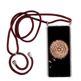 Puhelin ketjun Samsung Galaxy S9-älypuhelin kaula koru tapa uksessa bändi-johto kotelo ripustaa punaisella