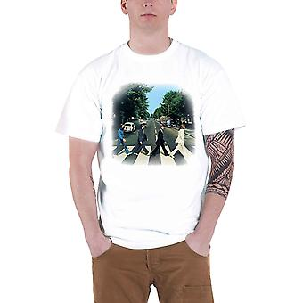 The Beatles T Shirt Abbey Road Crossing Band Logo Official Mens New White