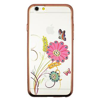Hull For iPhone 6 / 6s Transparent Flowers Butterflies And Strass