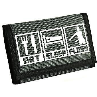 Eat, sleep, floss kids velcro wallet