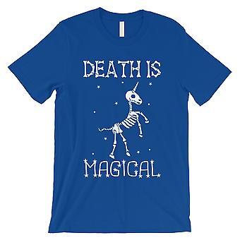 Døden er Megical Unicorn Skeleton Funny Halloween menns Royal blå T-skjorte