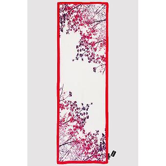Premium crepe scarf in white & fuchsia print