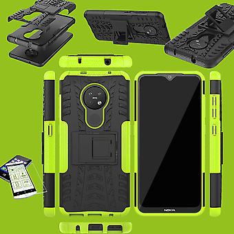 Para Nokia 6.2 / 7.2 Hybrid Case 2parts Green + Tempered Glass Case Cover Cover