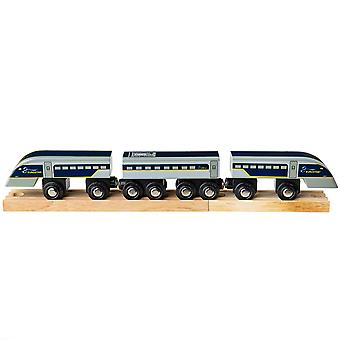 Bigjigs Rail Wooden Eurostar Train Locomotive Engine Carriages Track Compatible