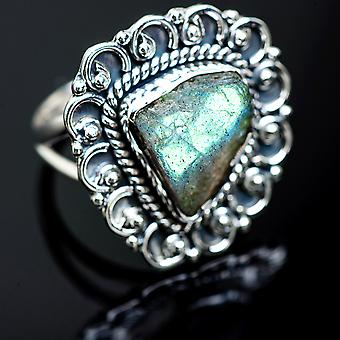 Rough Labradorite Ring Size 8.75 (925 Sterling Silver)  - Handmade Boho Vintage Jewelry RING989412