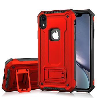 Stoßfest PC + TPU Rüstung Schutzhülle für iPhone XR, Halter, rot